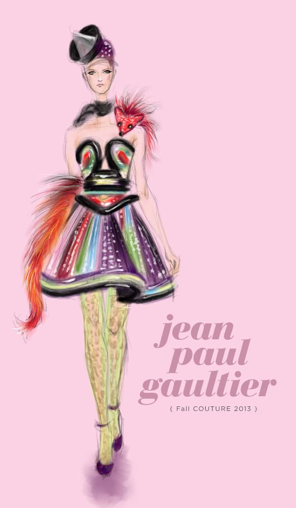 Jean Paul Gaultier Fall 2013 fashion illustration