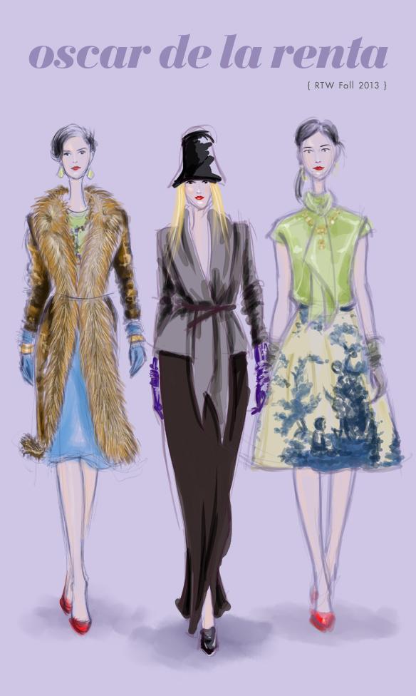 Oscar de la Renta Fall 2013 fashion illustration