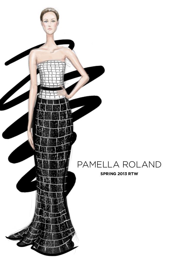 Pamella Roland Spring 2013 fashion illustration
