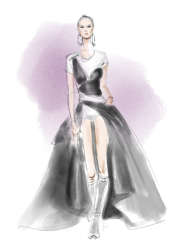 Versace Fall 2014 fashion illustration