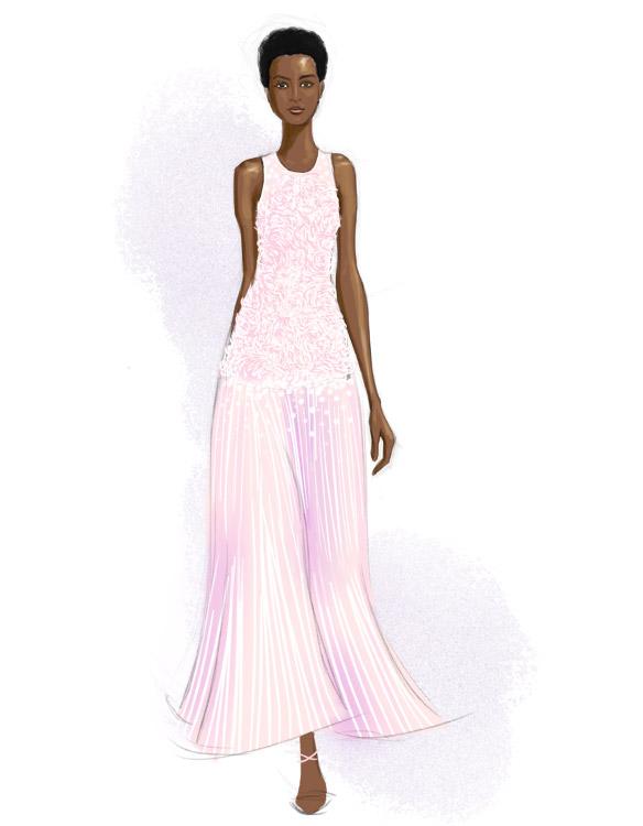 Carolina Herrera Spring 2016 fashion illustration