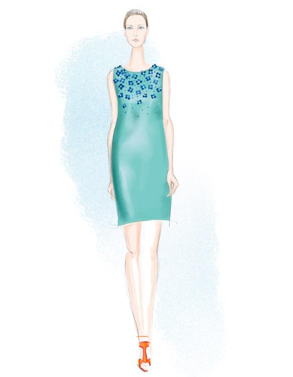 Monique Lhuillier Spring 2016 fashion illustration