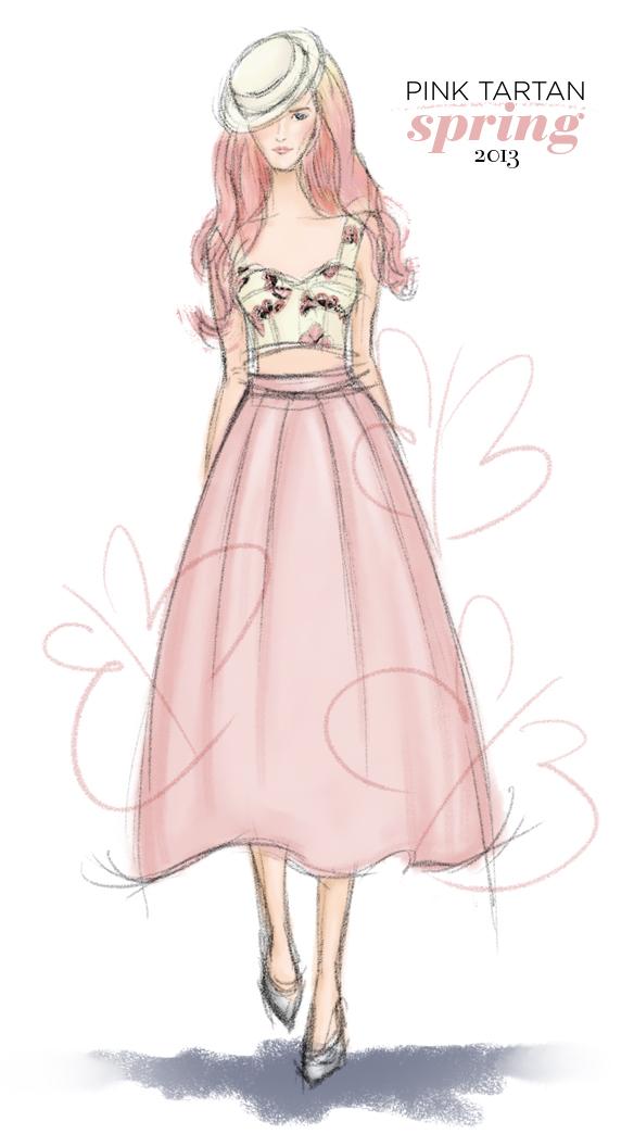Pink Tartan Spring 2013 fashion illustration
