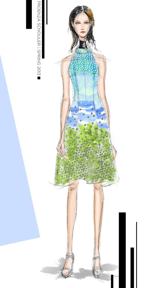 Proenza Schouler Spring 2013 fashion illustration