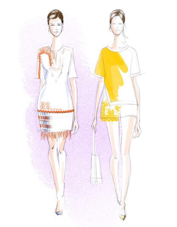 Tory Burch Spring 2016 fashion illustration