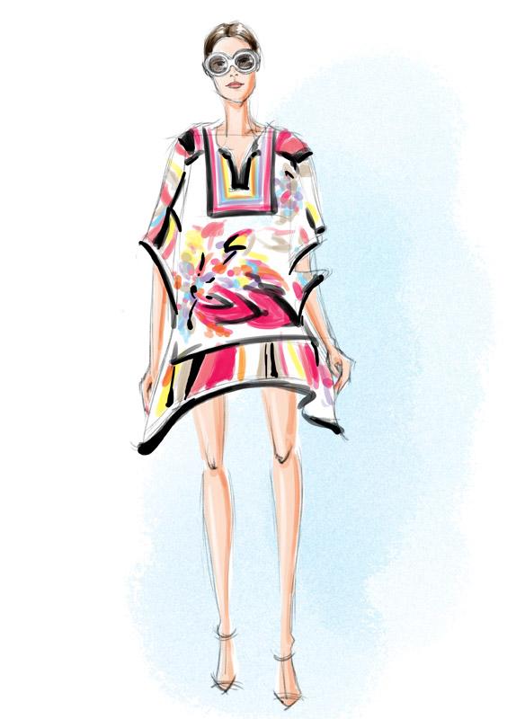 Trina Turk Spring 2016 fashion illustration
