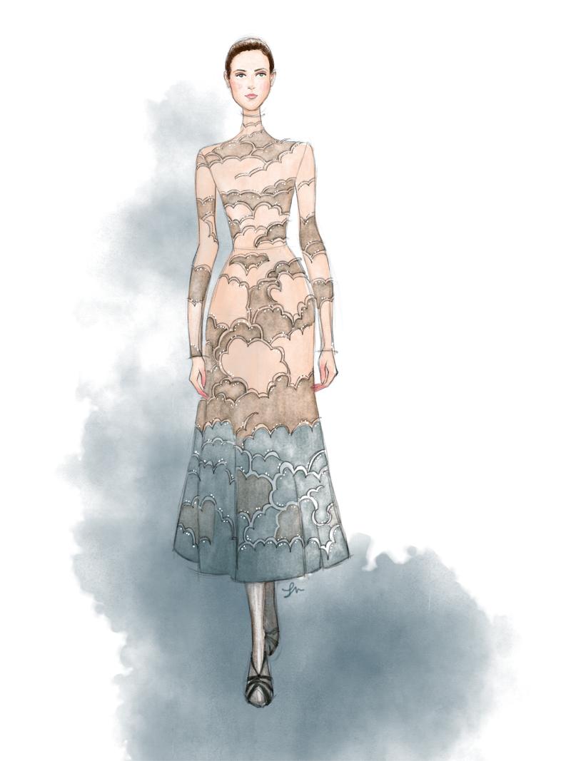 Valentino Fall 2016 fashion illustration